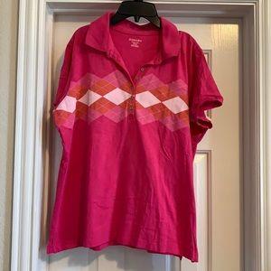 Woman's St. John's Bay pink polo shirt, Size XL